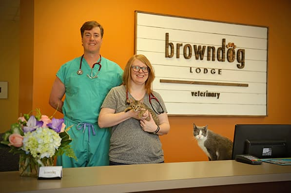Brown Dog Veterinary Clinic Lobby and Staff